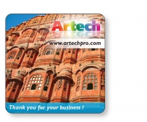 """Coaster 14 Pt White Card Stock, 3 7/8"""" Square, Full colour & Varnish"""