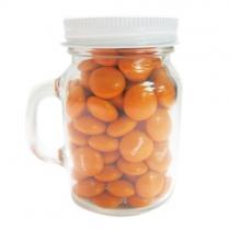 Glass Mini Mason Jars- Imprinted Chocolate Buttons