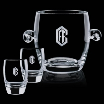 Crystal Belfast Ice Bucket with 2 On the Rocks Glasses