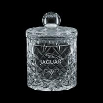 12 Oz. Small Medallion Crystal Barrel Jar & Lid